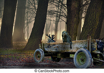 mystique, hibou, halloween, wagon., scène