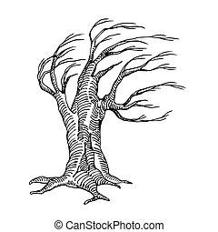 mystique, inanimé, branches, vacances, arbre, sec, mort, effrayant, caractère, halloween