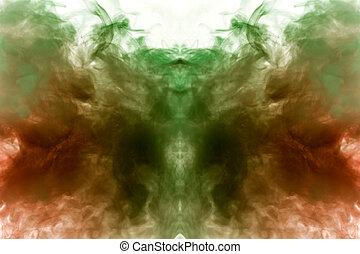 mystique, vape., ground., fumée, gris, modèle, résumé, ghost's, isolé, clair, ou, forme, ondulé, apparence, fond, vert, blanc, tête, vapeur, rouges, homme