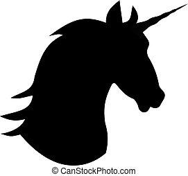 mythique, licorne, tête, cheval