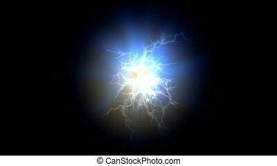 négatif, champ magnétique, éclair