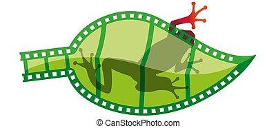 négatif, feuille-formé, bande, rouge vert, sien, par, pellicule, silhouette, derrière, projeter, grenouille
