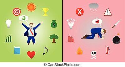 négatif, positif, comparaison, homme affaires