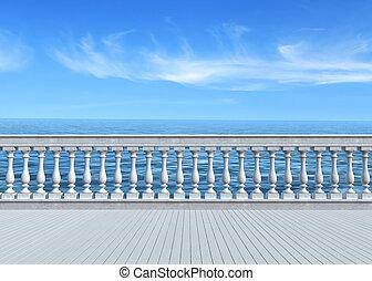 négligence, terrasse, mer