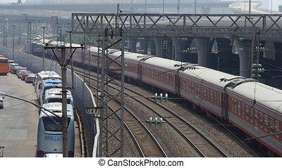 négliger, attente, train, rail