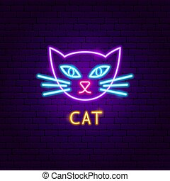 néon, étiquette, chat