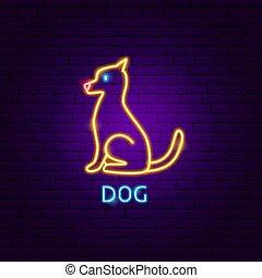 néon, étiquette, chien