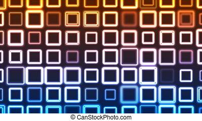 néon, animation, carrés, clignotement, géométrique, vidéo, clair