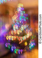 néon, garlands., spirale, arbre, fantasme, noël, incandescent, fond, résumé, brouillé