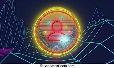 néon, icône, topographique, montagnes, personne, fond, sur, scintiller, cercle