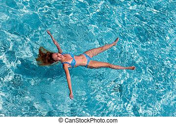 nage, femme, jeune, sports