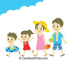 nager, été, usure, vacatio, famille