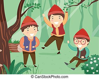 nains, stickman, rire, illustration, gosses