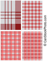 nappes, blanc, ensemble, rouges, checkered