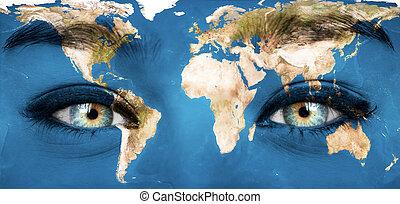 """nasa"""", meublé, image peinte, -, figure, planète, ceci, """"elements, humain, la terre"""