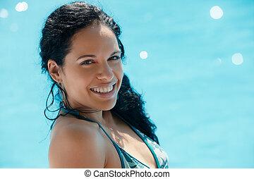 natation, femme, jeune, piscine, séance