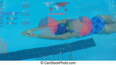 natation, femme, nageur, piscine, traitement, données, statistique, contre