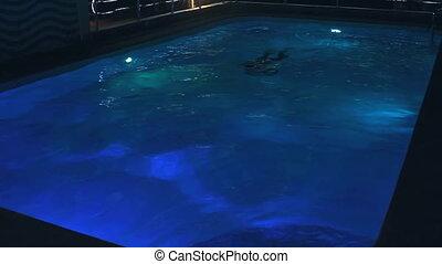 natation, homme, jeune, piscine, n