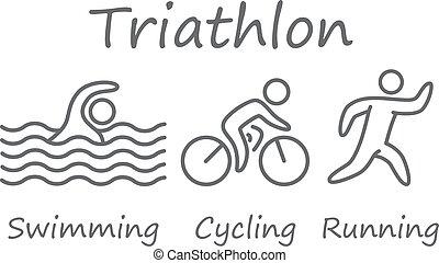 natation, triathlon, symbols., cyclisme, courant, figures, athletes., grands traits