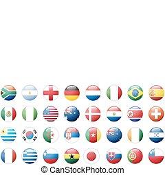 national, autocollants, drapeaux, boutons
