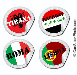 national, drapeaux, étiquettes