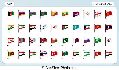 national, drapeaux, asie