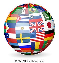 national, drapeaux, globe