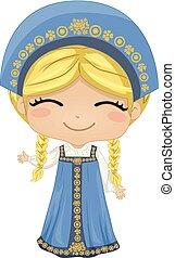 national, illustration, déguisement, russe, girl, gosse