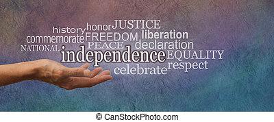 national, indépendance, bannière, jour