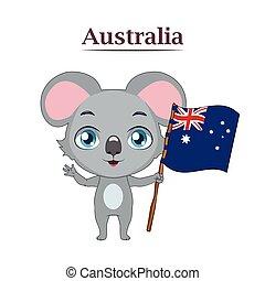 national, koala, drapeau, animal, australien