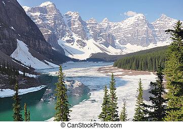 national, park., glace, printemps, sous, moraine, banff, lac, morning.