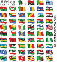 national, vecteur, ensemble, drapeau, africaine