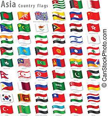 national, vecteur, ensemble, drapeau, asiatique