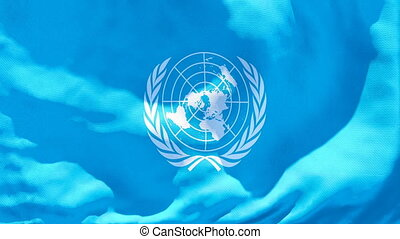 nations unies fléchissent, flottements, vent