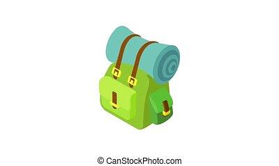 natte, animation, sac à dos, icône