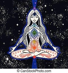 natte, vecteur, méditation, tshirt, girl, conception, yoga, chakras., allocation places