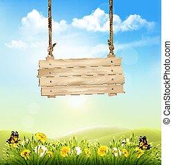 nature, bois, printemps, signe., vecteur, arrière-plan vert, herbe