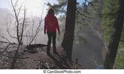 nature, canadien, regarder, girl, chute eau, beau