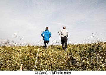 nature, ensoleillé, deux, jeune, automne, courant, vue., athlètes, arrière