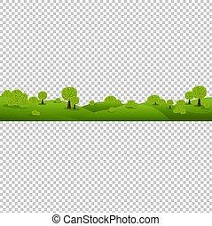 nature, isolé, arrière-plan vert, transparent, paysage
