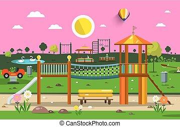nature, parc, scene., vecteur, coucher soleil, playground., vide