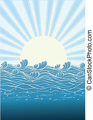 nature, soleil, illustration, day., vecteur, mer, vagues, paysage