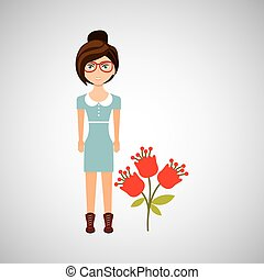 naturel, caractère, trois, floral, girl, icône