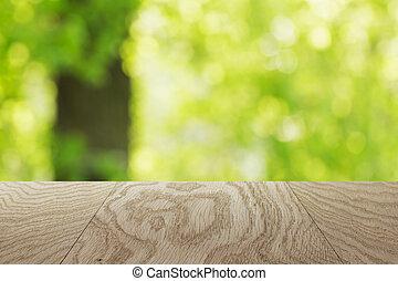 naturel, fond, arbre chêne, brouillé, gabarit, table