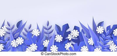 naturel, hiver, snowflakes., cadre, arbre, illustration, vecteur, frontière, feuilles