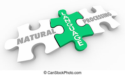 naturel, langue, puzzle, traitement, profond, morceaux, illustration, apprentissage, 3d