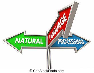 naturel, langue, traitement, illustration, machine, parole, apprentissage, signes, reconnaissance, 3d