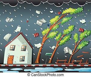 naturel, ouragan, désastre, scène