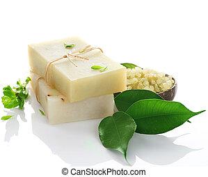naturel, sur, fait main, savon, blanc