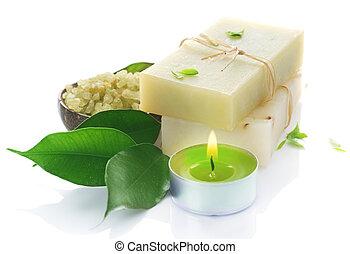 naturel, sur, fait main, white., spa, savon